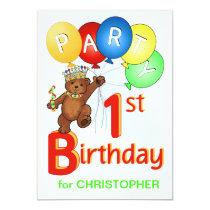 Royal Teddy Bear 1st Birthday Party Card
