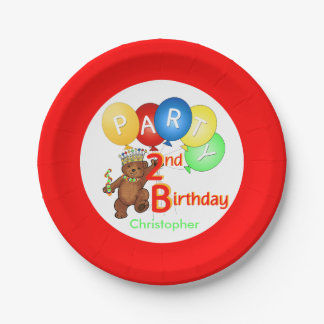 Royal Teddy Bear 2nd Birthday Party Paper Plate