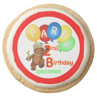 Royal Teddy Bear 2nd Birthday Party Round Shortbread Cookie