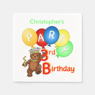 Royal Teddy Bear 3rd Birthday Party Napkin