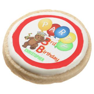 Royal Teddy Bear 3rd Birthday Party Round Shortbread Cookie