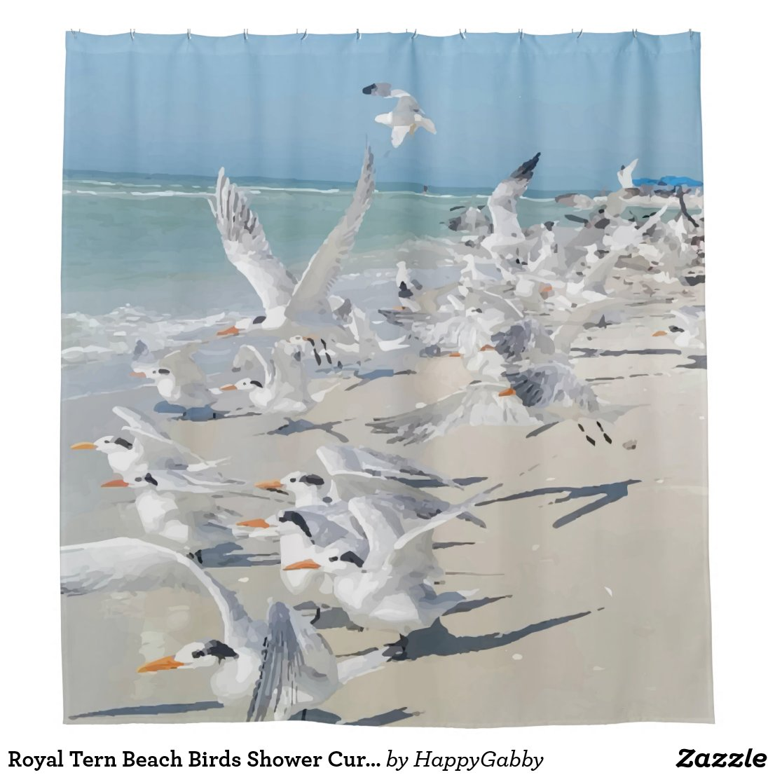 Royal Tern Beach Birds Shower Curtain