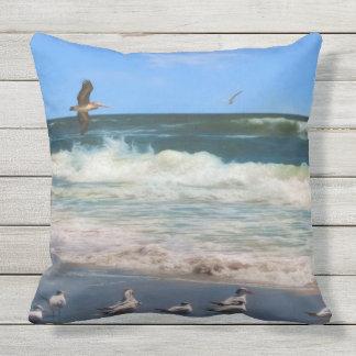Royal Terns at the Beach Throw Pillow