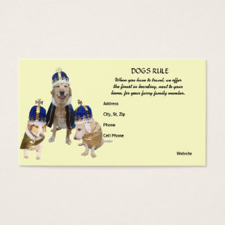 Royal Treatment Dog Boarding Business Card
