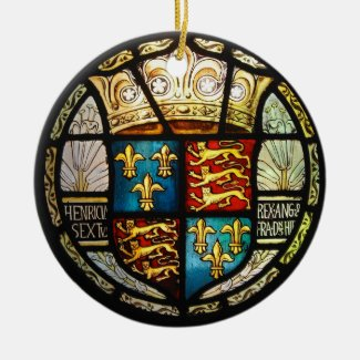 Royal Tudor Coat of Arms Henry VIII Stained Glass Ceramic Ornament