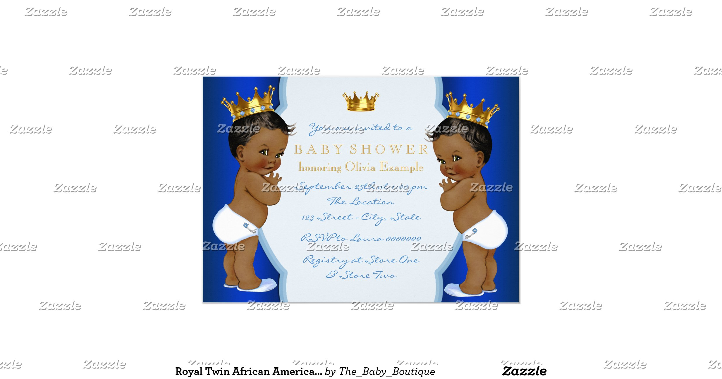 royal twin african american prince baby shower 5x7 paper invitation