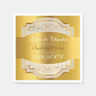 Royal Vintage Chic Personalised Golden Wedding Napkin