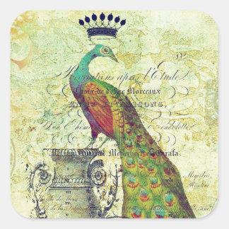 Royal vintage peacock square sticker