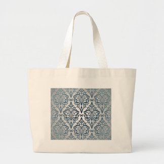 Royal,vintage,silver,teal,damask,victorian,chic Tote Bags