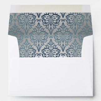 Royal,vintage,silver,teal,damask,victorian,chic, Envelopes