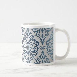 Royal,vintage,silver,teal,damask,victorian,chic Basic White Mug