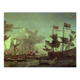 Royal Visit to the Fleet, 5th June 1672 Postcard