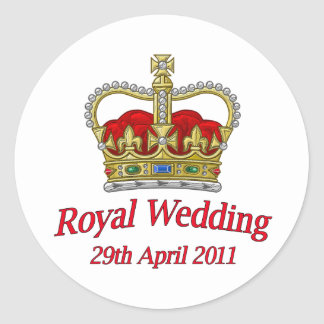 Royal Wedding 29th April 2011 Classic Round Sticker