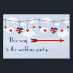 "Royal Wedding British and American flag hearts Yard Sign<br><div class=""desc"">Get your guests to the right place with this fun yard sign. If you are having guests for the royal wedding, this is perfect with its American and British flag heart. Perhaps you are a British American couple getting married. This is ideal for your wedding reception. This is easy to...</div>"