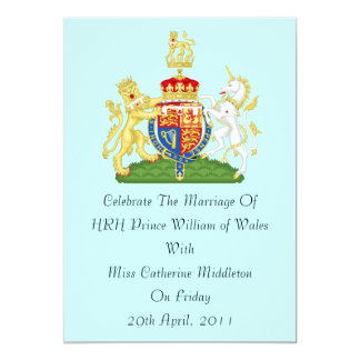 Royal Wedding Coat Of Arms Invitation (Aqua)