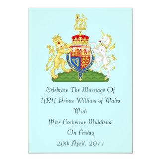 Royal Wedding Coat Of Arms Invitation (Aqua)