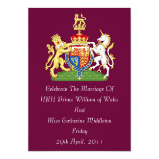 Royal Wedding Coat Of Arms Invitation (Burgundy)