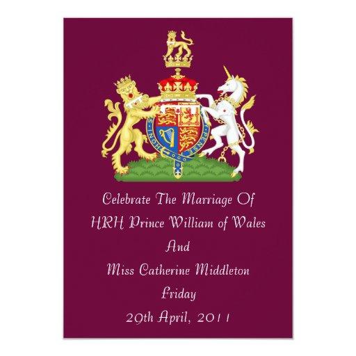 Royal Wedding Coat Of Arms Invitation (Burgundy)