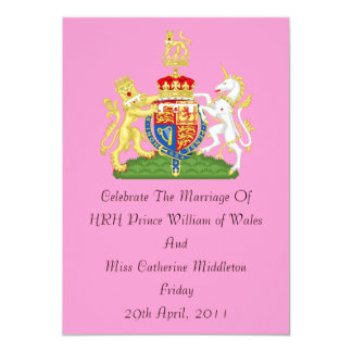 Royal Wedding Coat Of Arms Invitation (Pink)