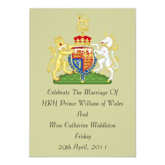 Royal Wedding Coat Of Arms Invitation (Taupe)