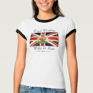 Royal Wedding Coat of Arms Wills and Kate Ringer T-Shirt