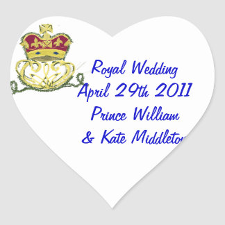 Royal Wedding Commemorative Heart Sticker