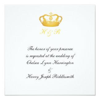 "Royal Wedding Golden Crown Invitation 5.25"" Square Invitation Card"