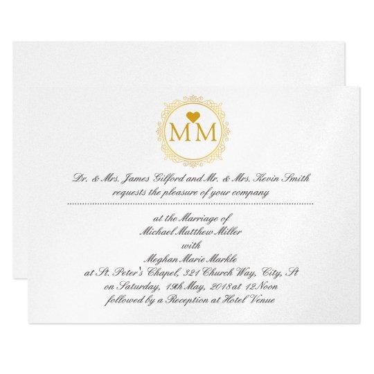 Royal Wedding Invitation Monogram Gold Script Zazzlecom