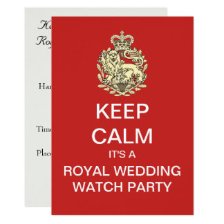Royal Wedding KEEP CALM Watch Party Invite (Red)