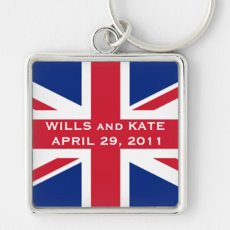 Royal Wedding Silver-Colored Square Keychain