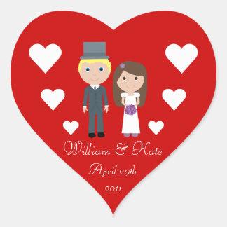 Royal Wedding William & Kate Cute Cartoon Heart Sticker