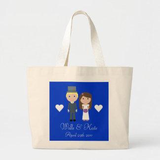 Royal Wedding Wills & Kate Cute Cartoon Tote Bag