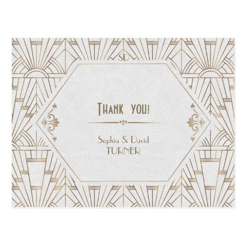 Royal White Gold Great Gatsby Wedding Thank You Postcard