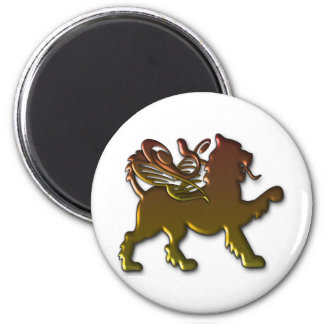 Royal Winged Lion 2 Inch Round Magnet