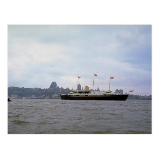 """Royal yacht """"Britannia"""" on St. Lawrence River, Que Postcard"""