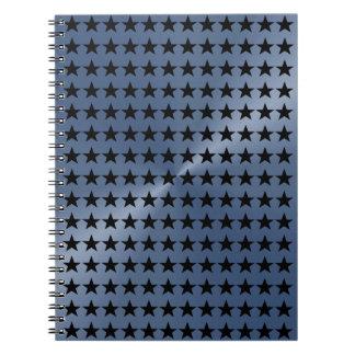 RoyalBlue and Black Stars  Pattern Notebook