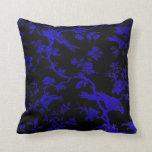 RoyalBlueBirds en la almohada de tiro de lino
