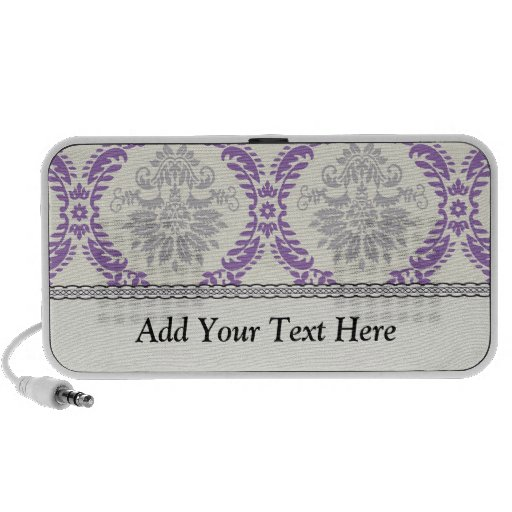 royale regal purple gray and cream damask design PC speakers