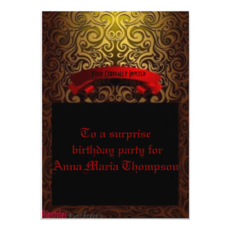 """Royally Red and Gold Surprise Party Invite 5"""" X 7"""" Invitation Card"""