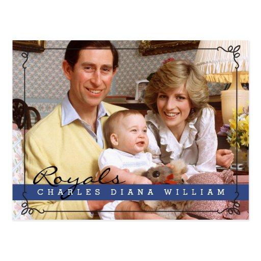 Royals Charles Diana y Guillermo Postales