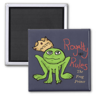 Royalty Rules Frog Prince 2 Inch Square Magnet