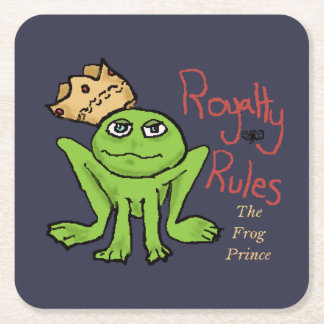 Royalty Rules Frog Prince Custom Square Coasters