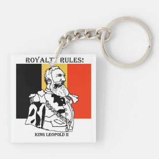 Royalty Rules King Leopold II Square Keychain