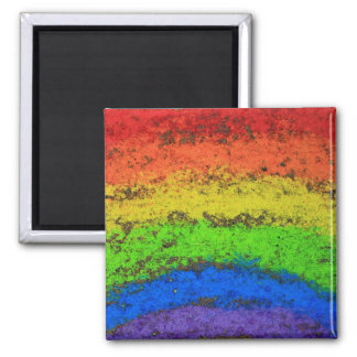 ROYGBIV Grunge Rainbow  Sidewalk Chalk Fridge Magnets