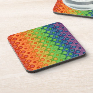 ROYGBIV Rainbow Bubbles Distorted Colors Beverage Coasters