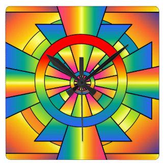 Roygbiv Rainbow Cross Abstract Wall Clock
