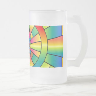 Roygbiv Rainbow Cross Abstract Frosted Glass Beer Mug