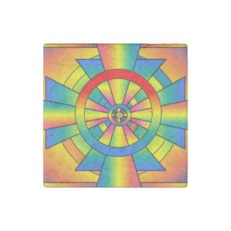 Roygbiv Rainbow Cross Abstract Stone Magnet