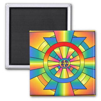 Roygbiv Rainbow Cross Abstract Magnets