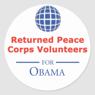 RPCVS para los pegatinas de Obama Etiqueta Redonda
